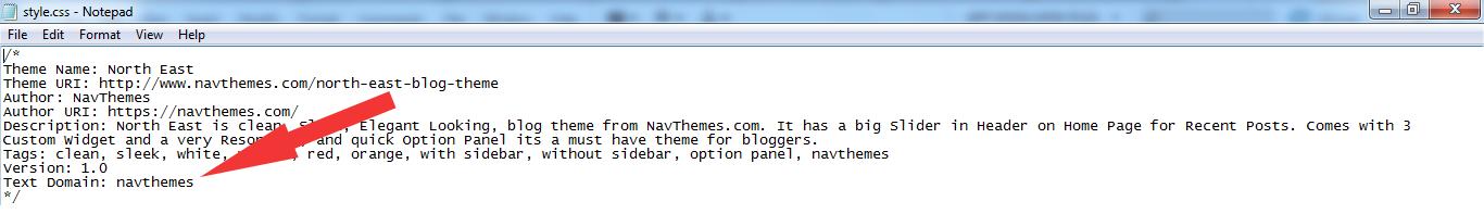 text domain navthemes