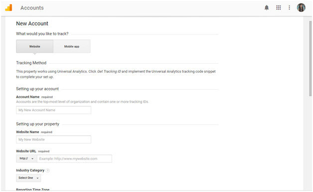set up a New Google Analytics Account