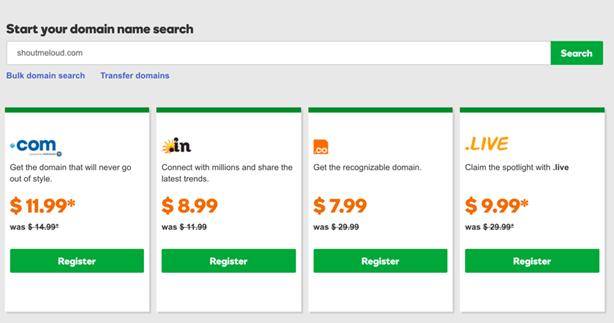 Godaddy Domain Name Registration Plans