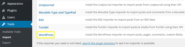 WordPress export file