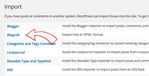 import blogroll