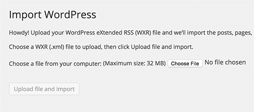 import wordpress screen