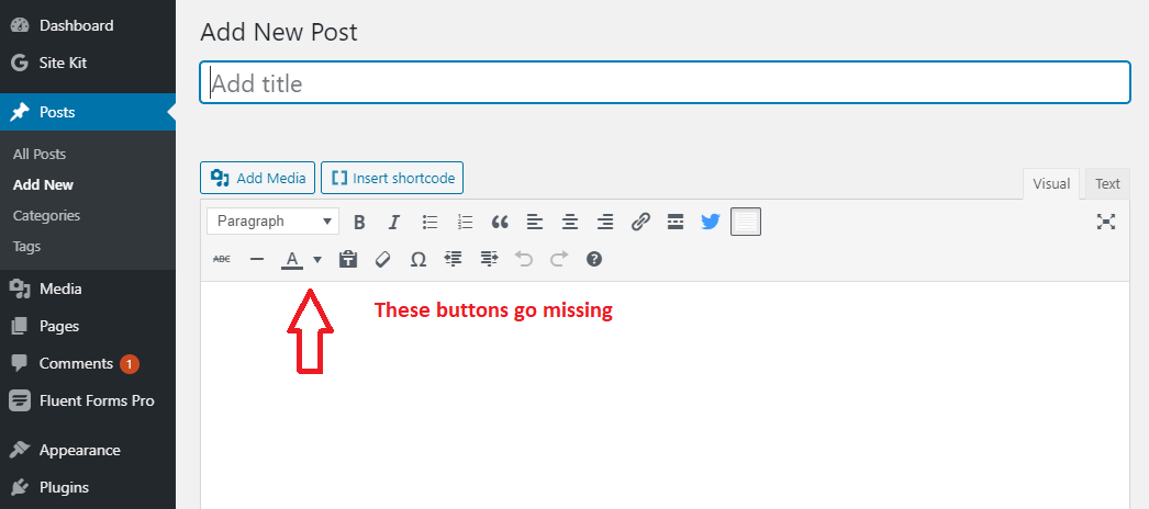 Visual editor buttons