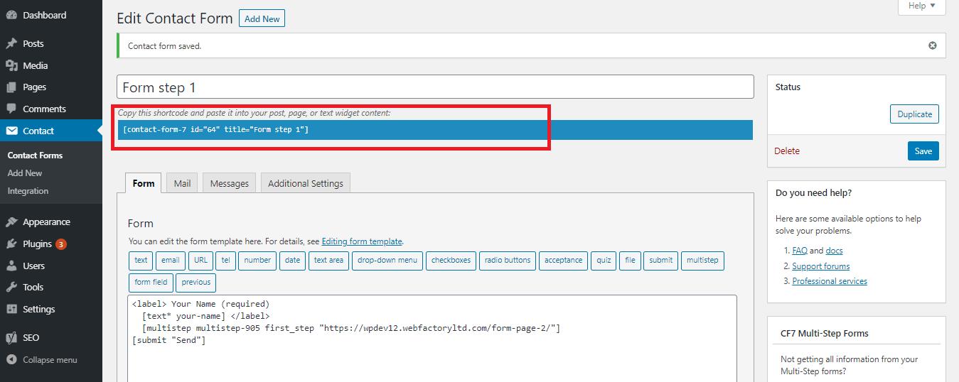 Form step shortcode