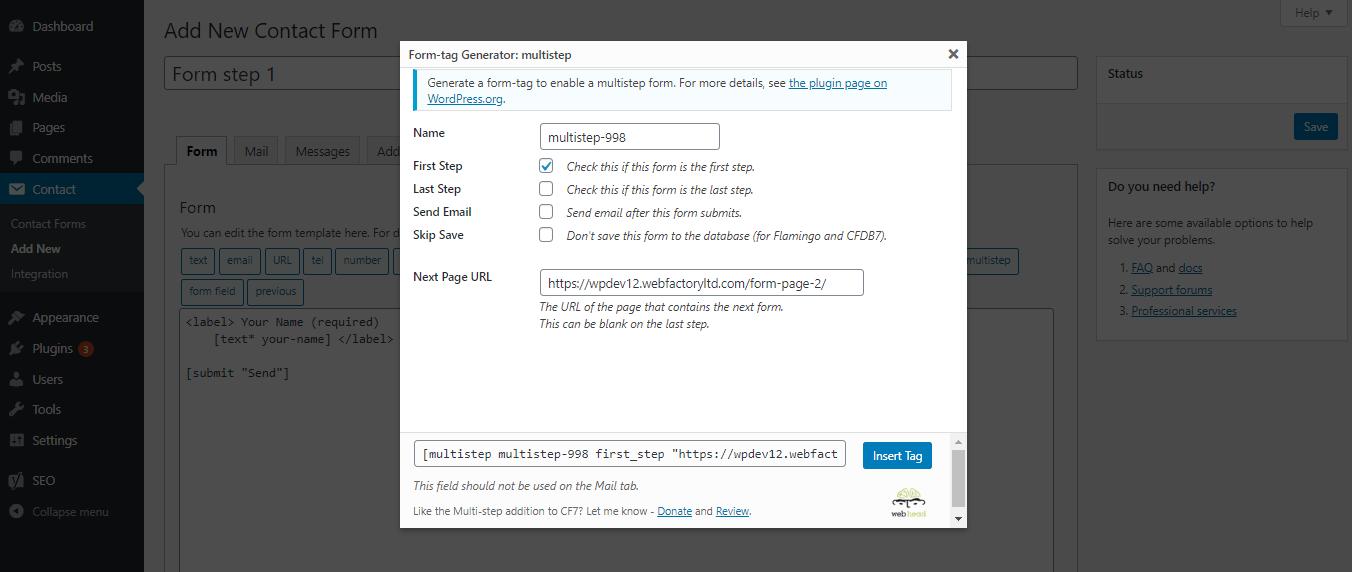 Generating multi-step form