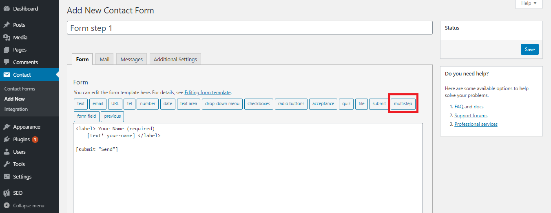 Multi-step shortcode