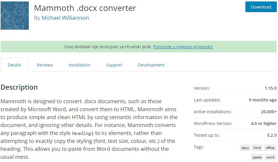 Mammoth .docx converter