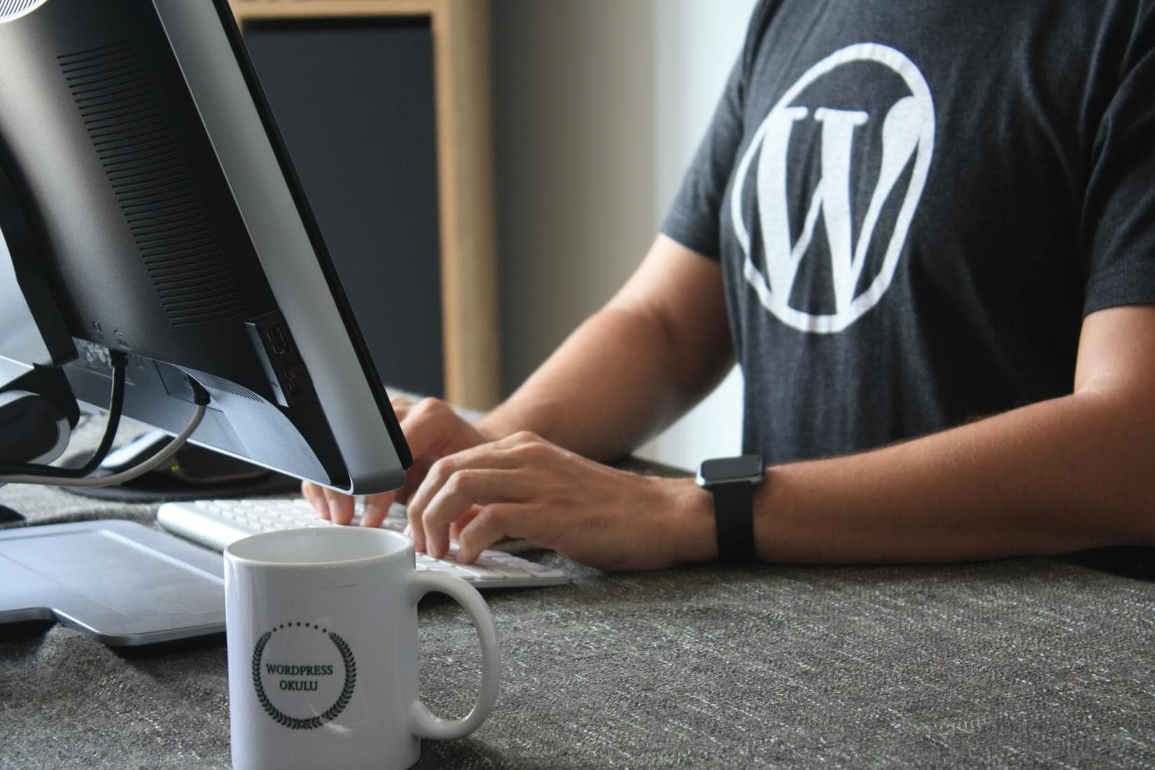 Man wearing WordPress shirt
