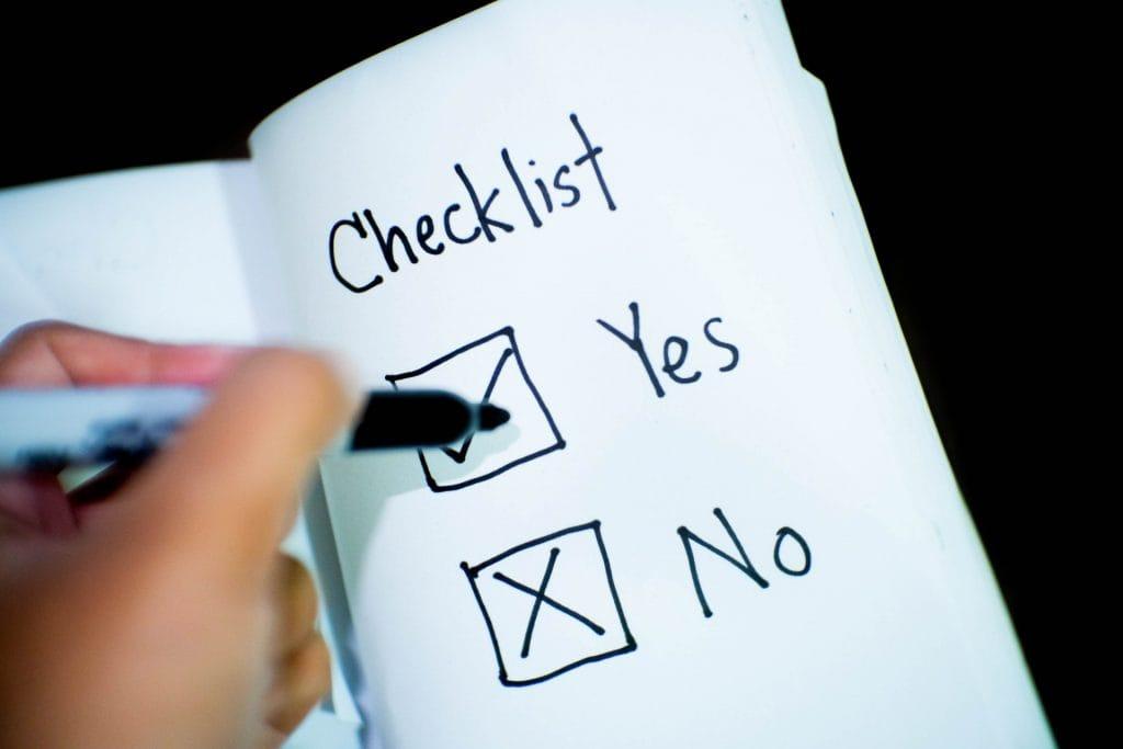 Yes or no checklist