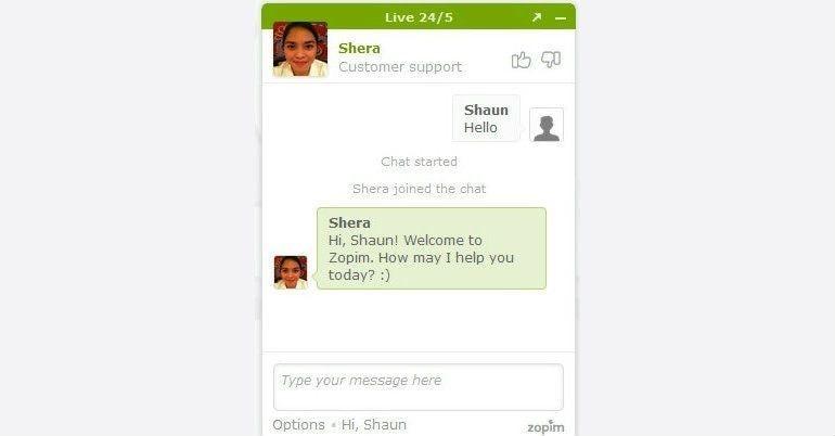 Zopim Chat Box Screenshot