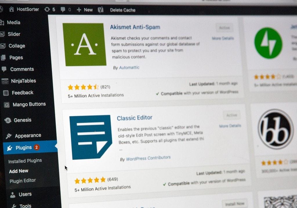 Plugins tab in WordPress dashboard