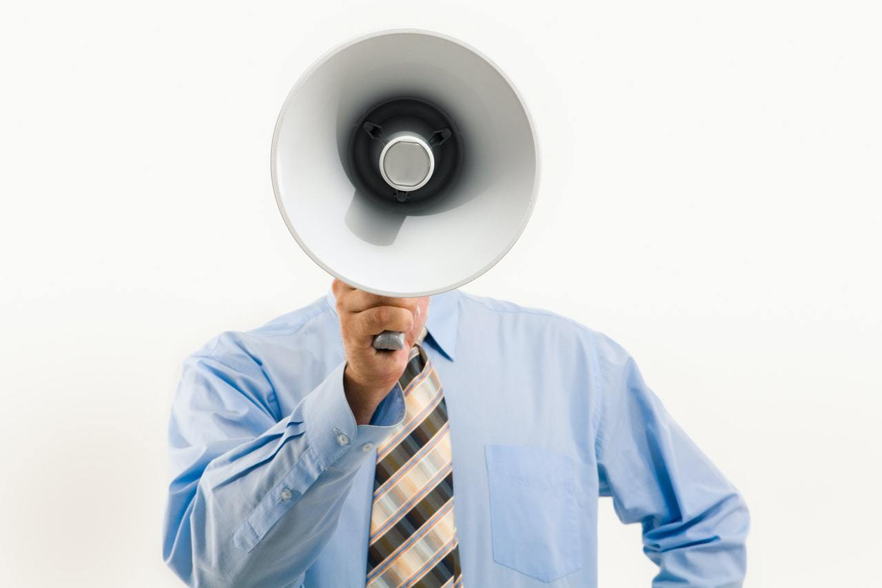 Man with megaphone in hand