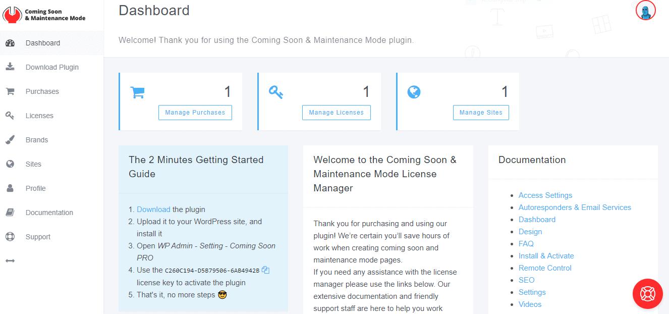 Coming Soon & Maintenance Mode dashboard