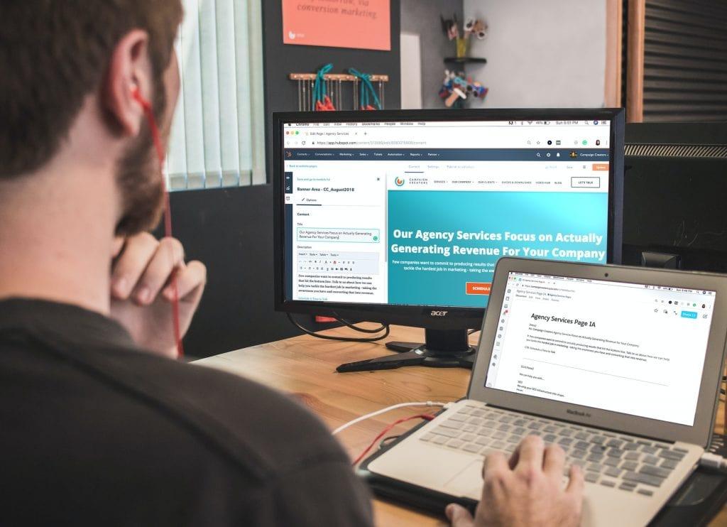 Man focused on web design