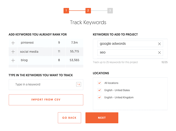 Track keywords Ubersuggest