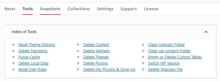WP Reset tools