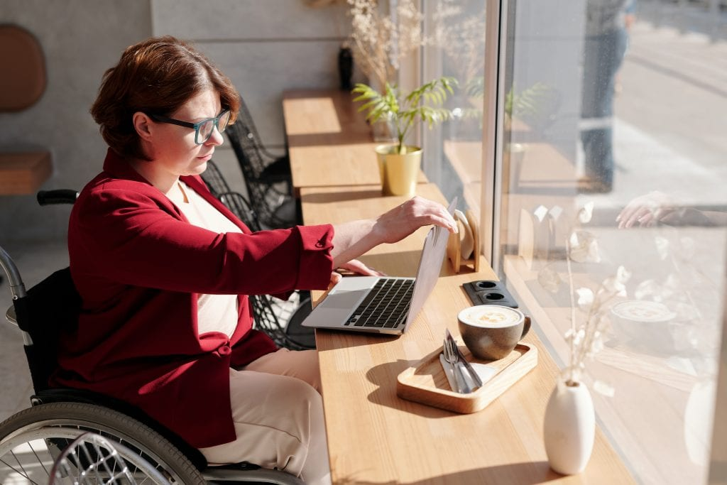 Disabled woman using pc