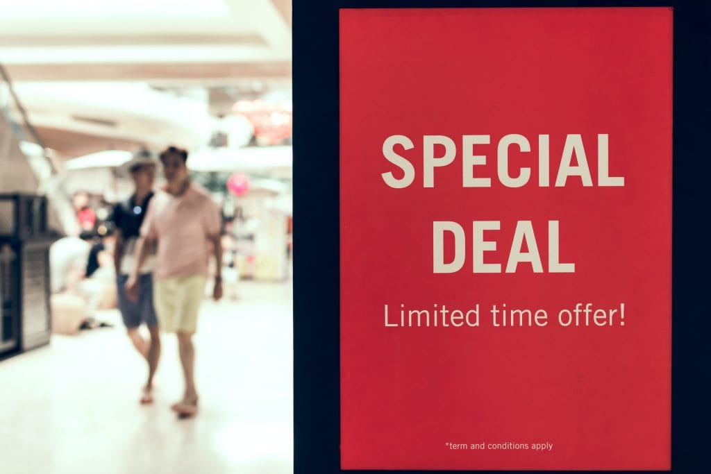 Special deal sign