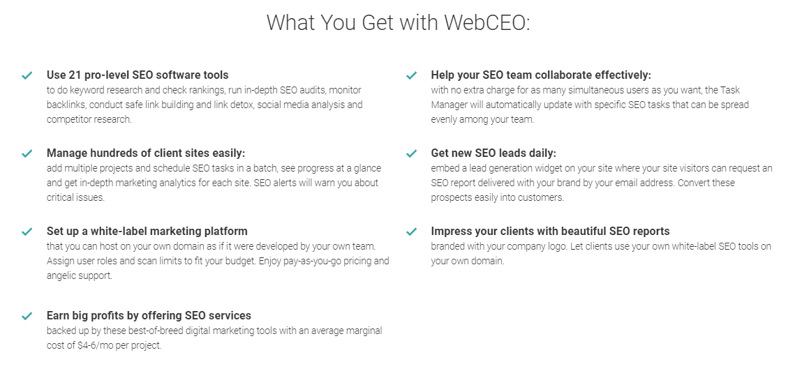 WebCEO features overview