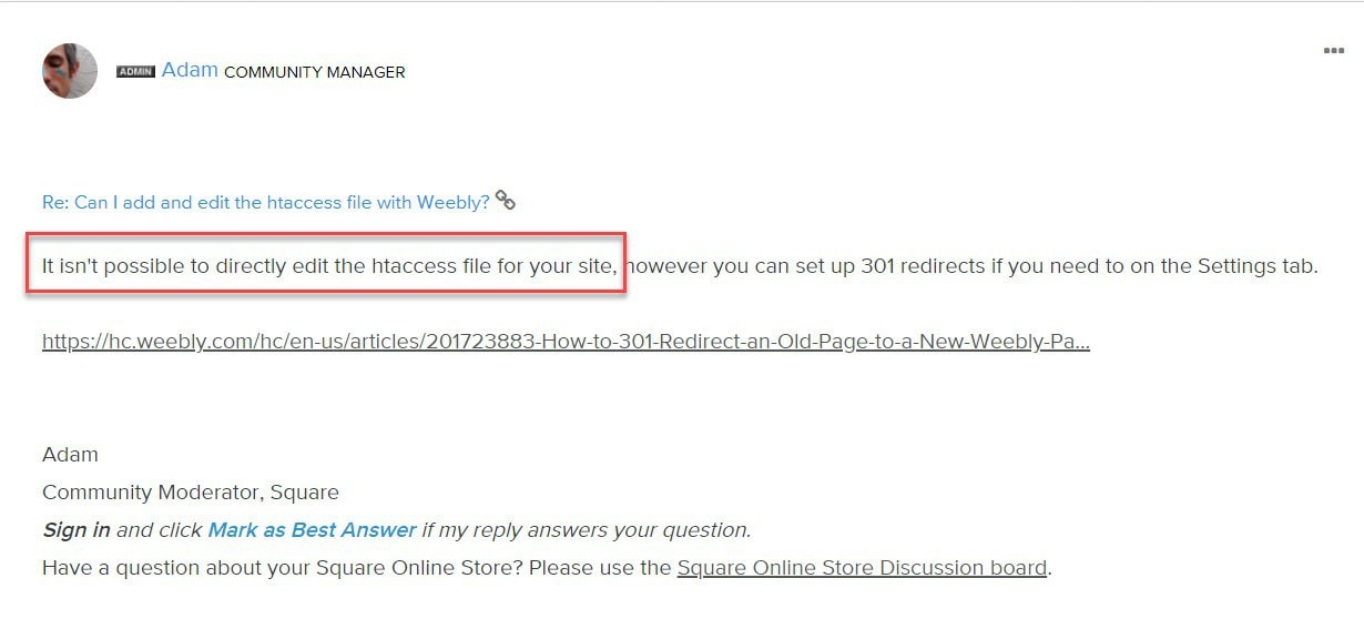 Answer from Weebly community manager