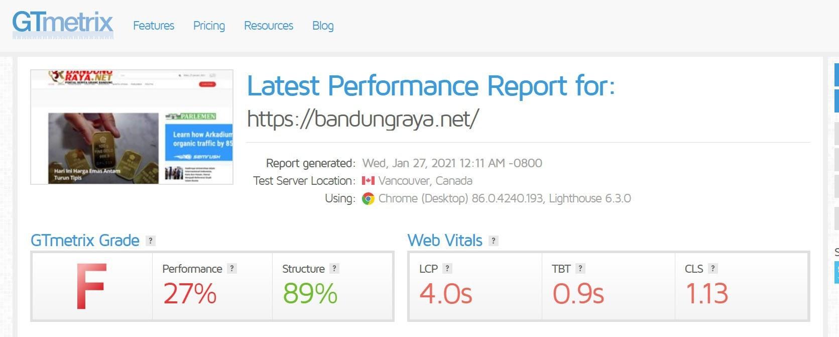 bandungraya.net GTmetrix score