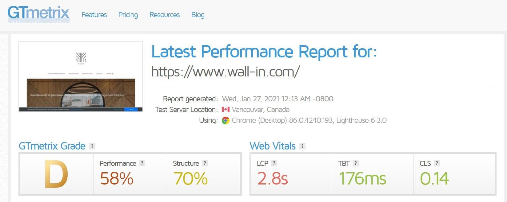wall-in.com GTmetrix score