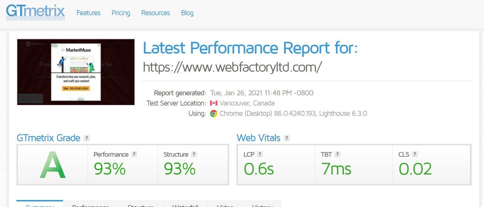 WebFactory site GTmetrix report