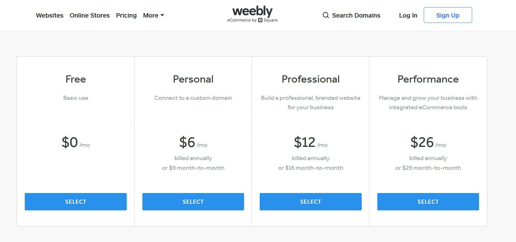 Weebly hosting plans