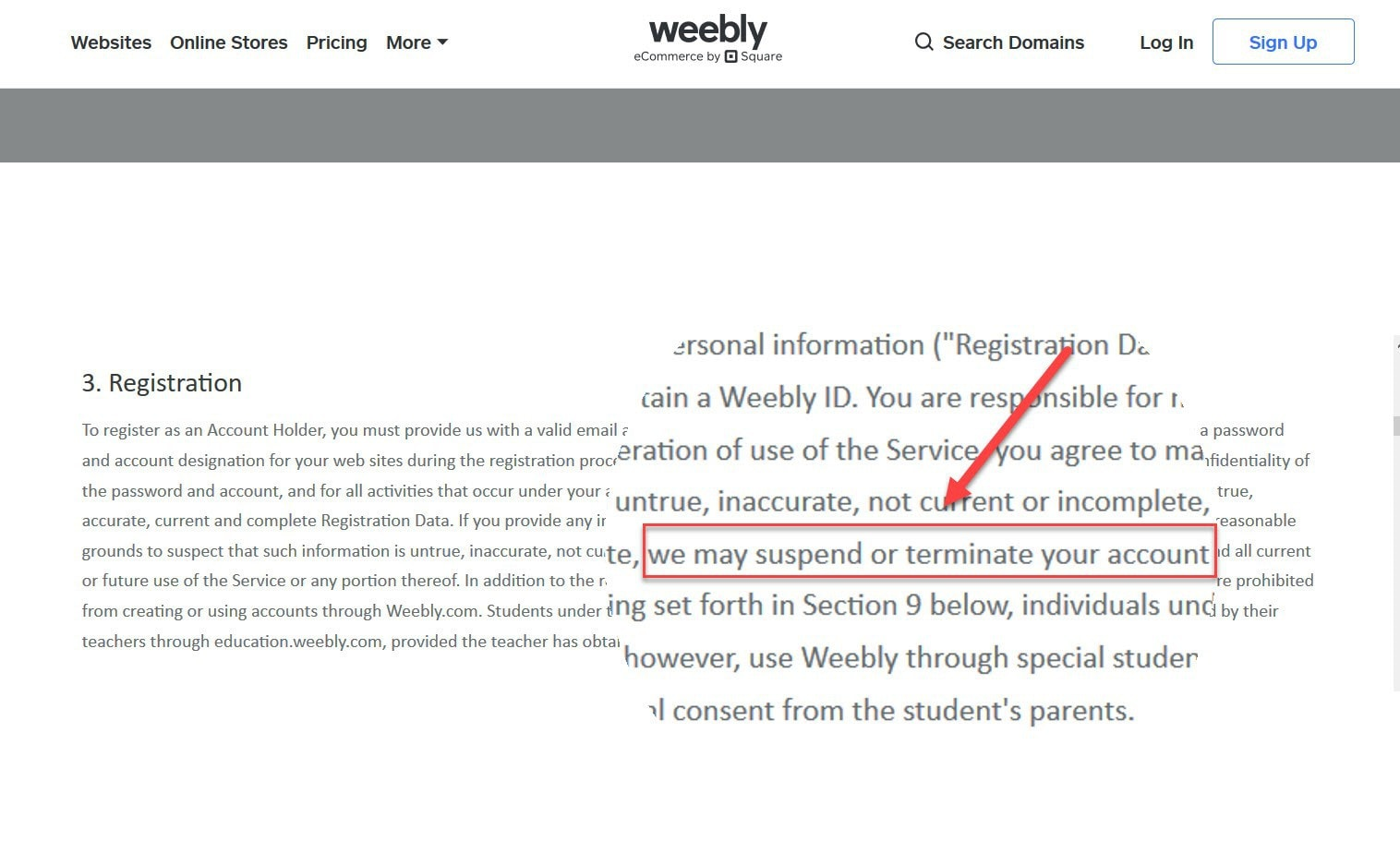 Weebly registration information