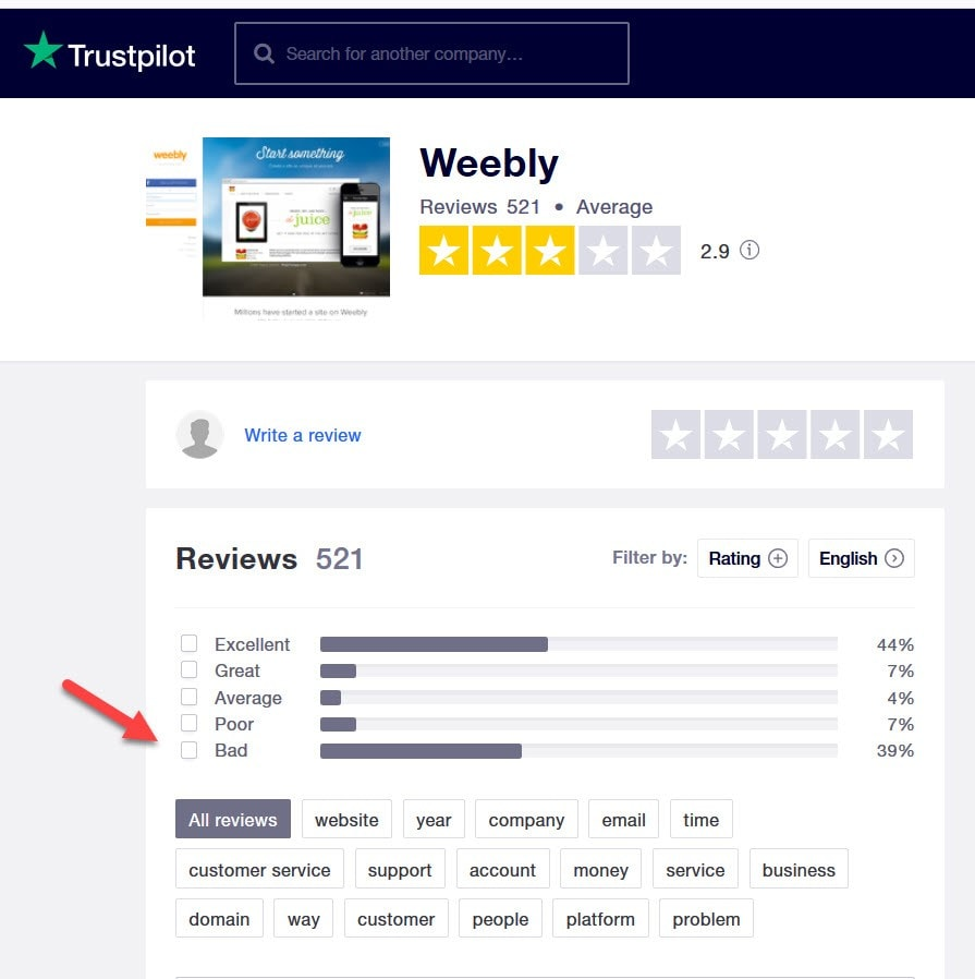 Weebly Trustpilot reviews