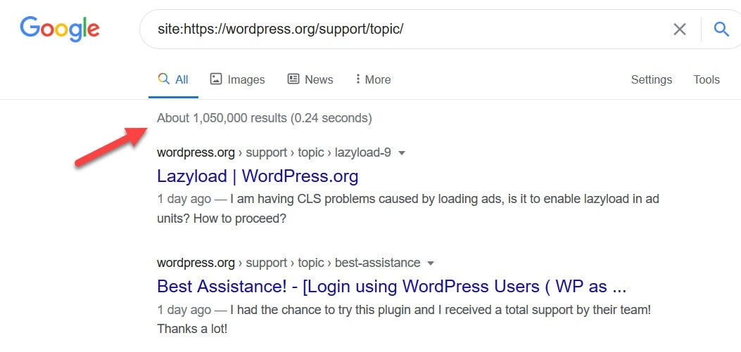 WordPress support section Google search