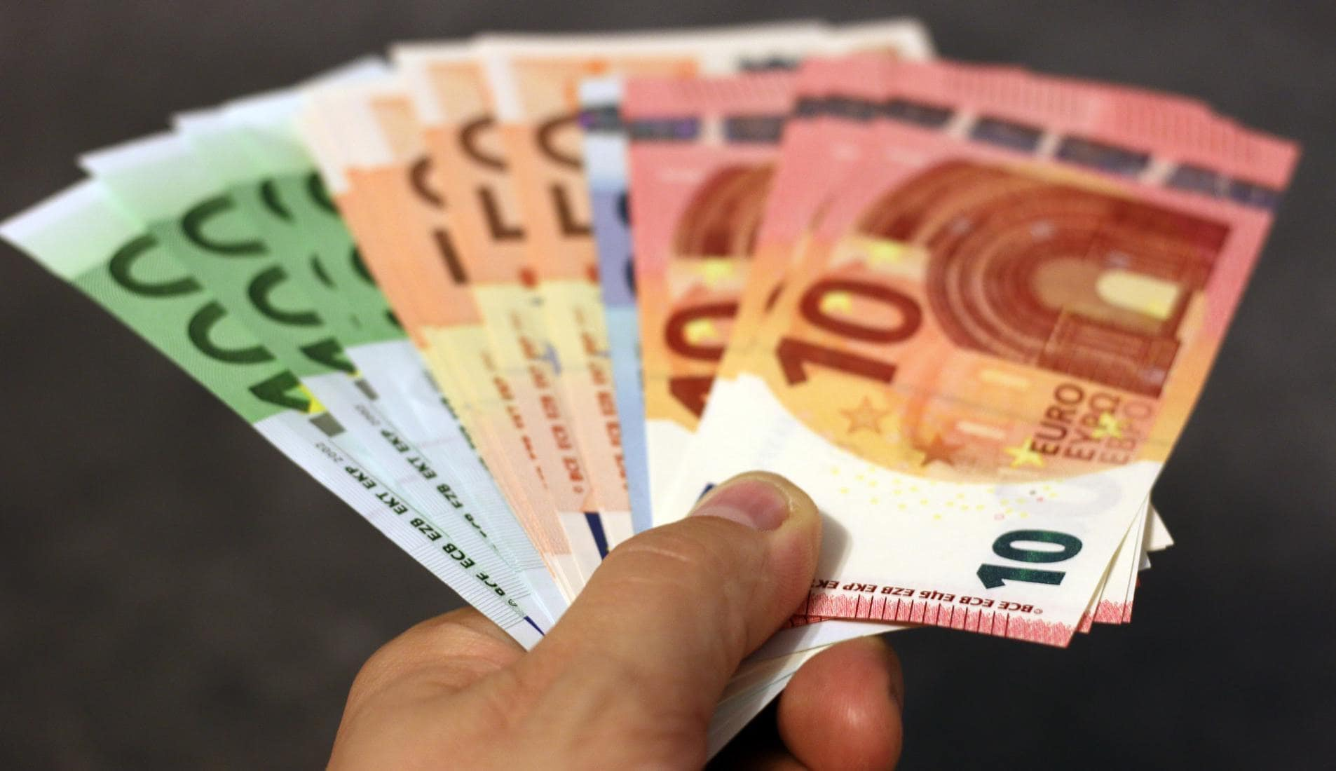 Person holding euro banknotes