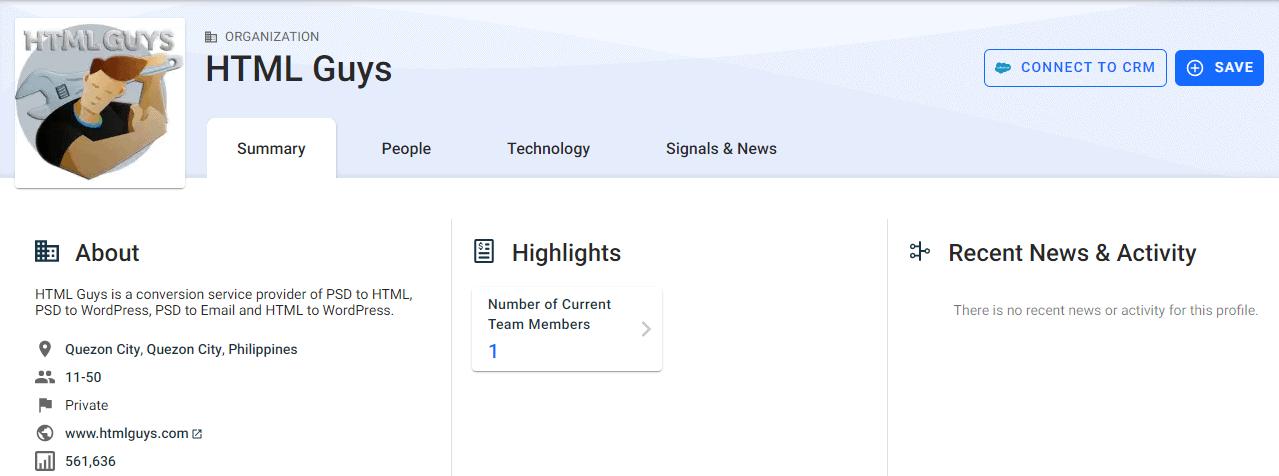 HTML Guys Crunchbase profile