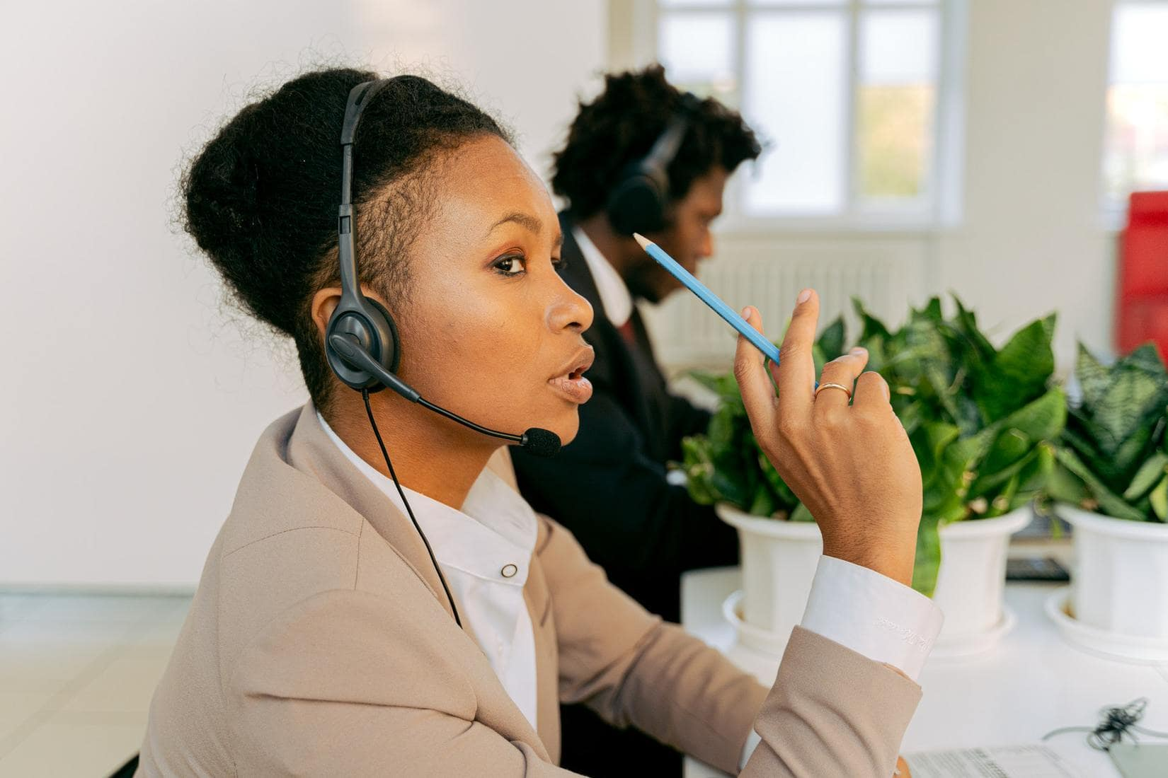 Customer support agent speaking