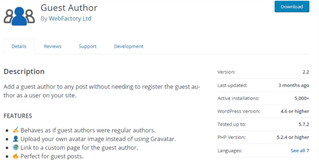 Guest Author banner and description