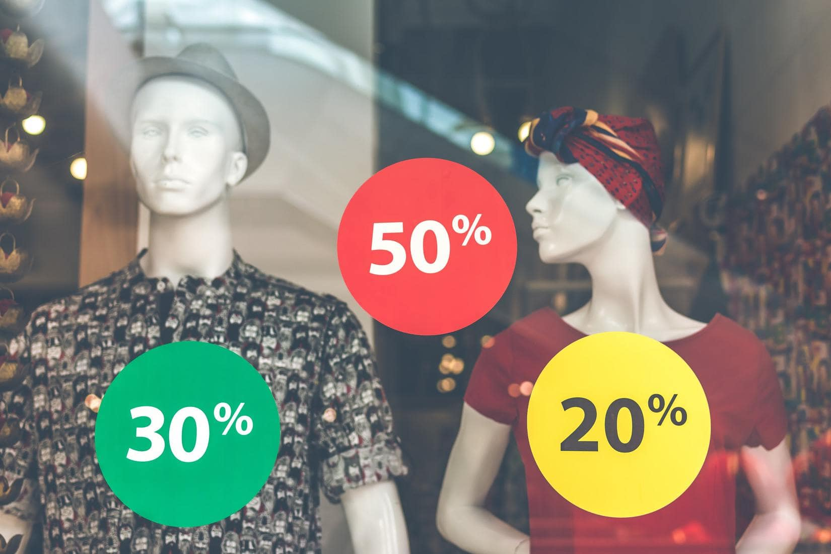 Shop window with discount offers
