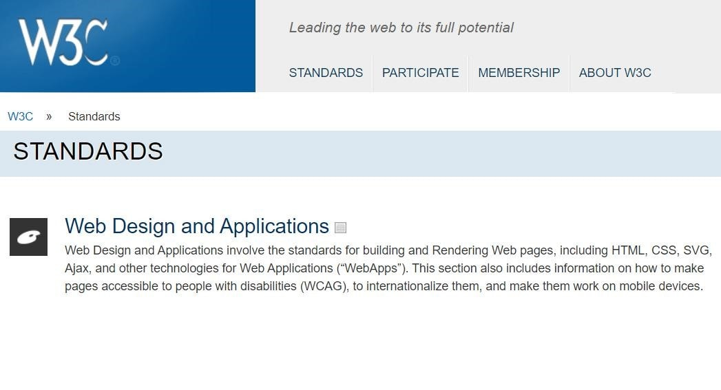 W3C standards page
