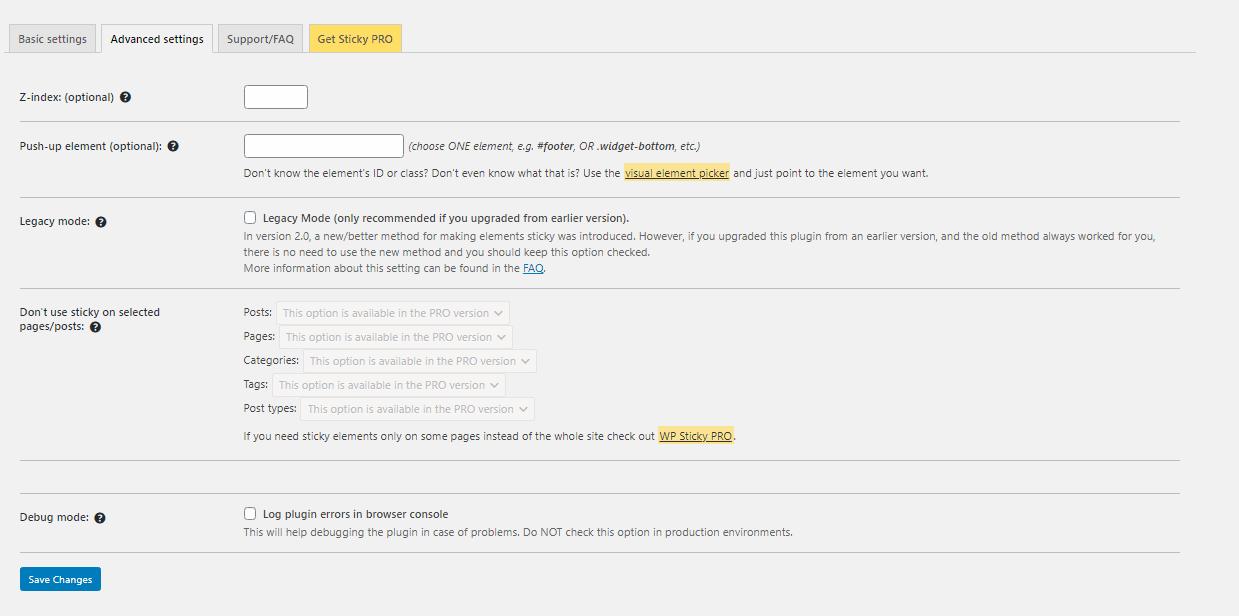 WP Sticky plugin advanced settings