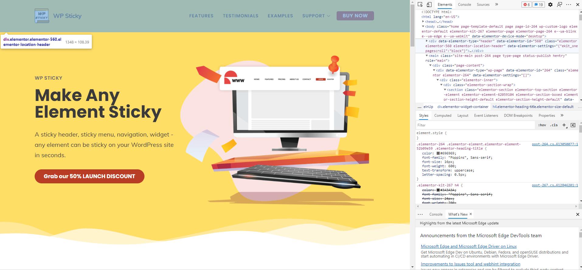 WP Sticky site code