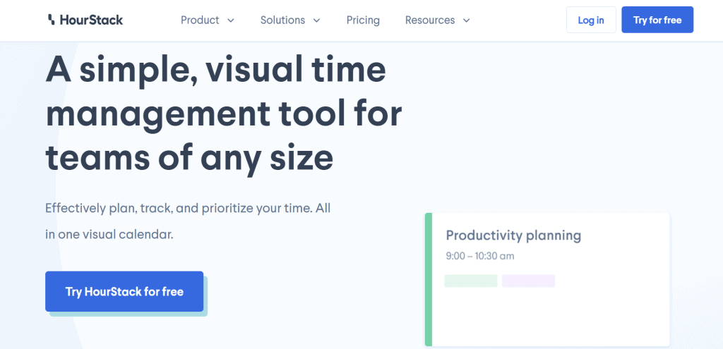HourStack homepage