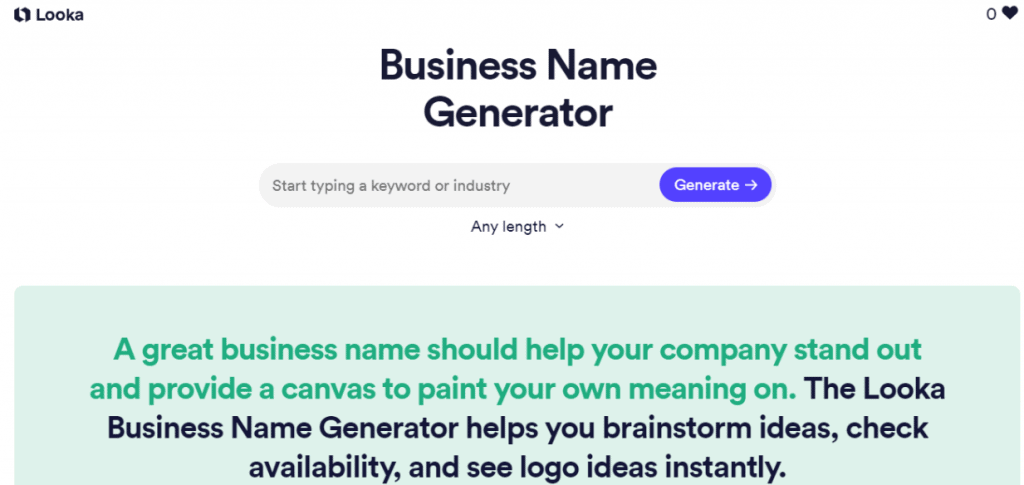 Looka Name Generator