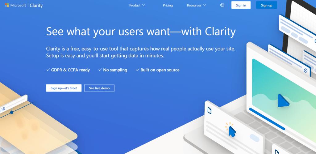 Microsoft Clarity homepage