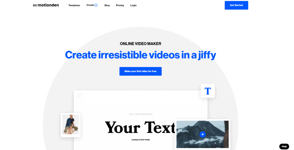 Motionden homepage