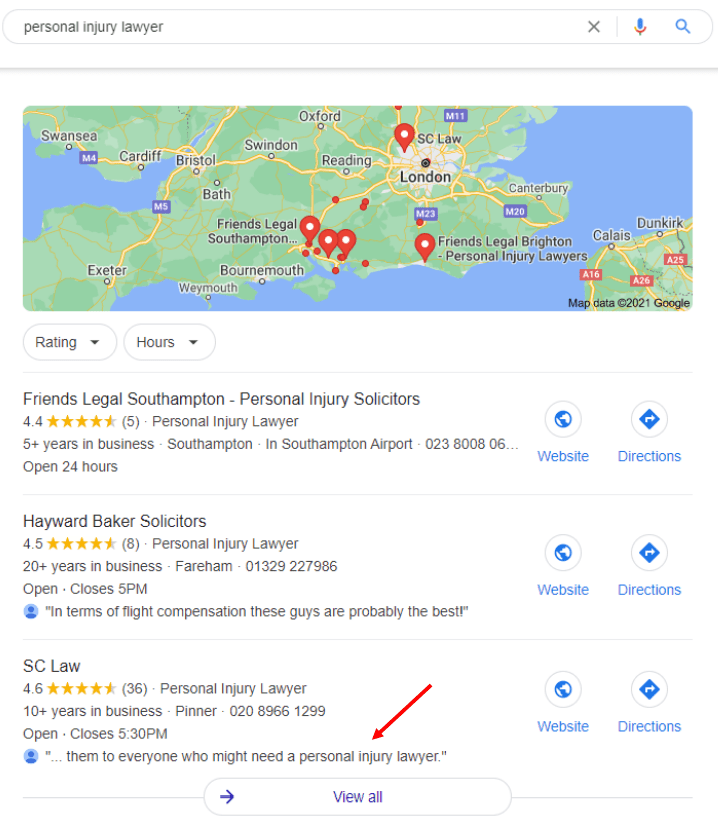 Personal Injury Lawyer on Map