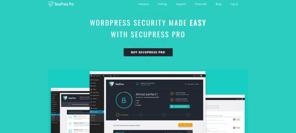 SecuPress Pro homepage