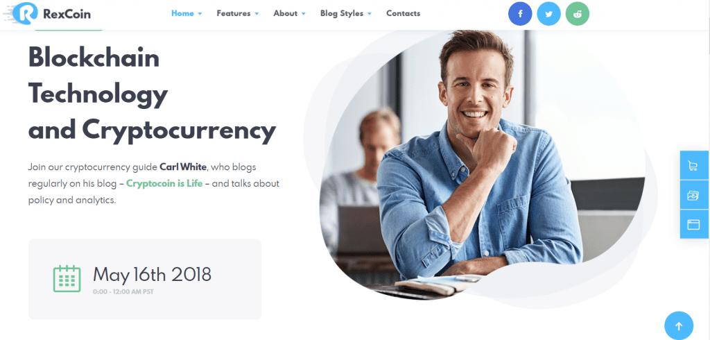 RexCoin homepage