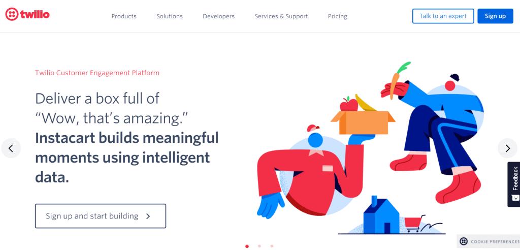 Twilio homepage